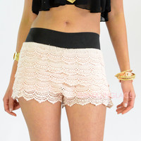 Heat Wave Natural Lace Ruffle Shorts
