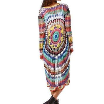 DCCK1IN keep yourself balanced in the all new mandala cover up rainbow knit cardigan 3 4 length with a slightly oversized fit can be worn as a light cardigan or as a swim cover up or as a really chill blanket for a you sized bed