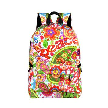 High Quality Floral Backpack For Teenager Girls School Bags Hip Hop / Hippie / Rock Women Daypack Backpack College Student Bag
