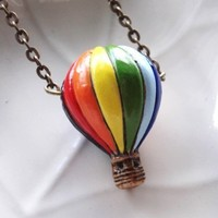 Up, Up, and Away Necklace -- Ceramic Hot Air Balloon | SkyeStudios - Jewelry on ArtFire