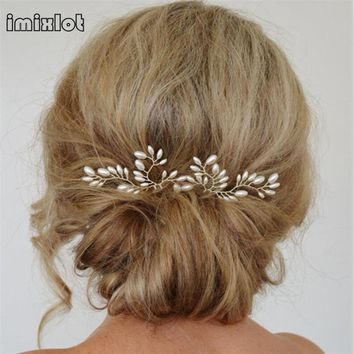 imixlot 2017 Sale Promotion Plant Trendy Zinc Alloy 1pc Wedding Hair Accessories Bridal Clips Pearl Stick Pin Fork For Women