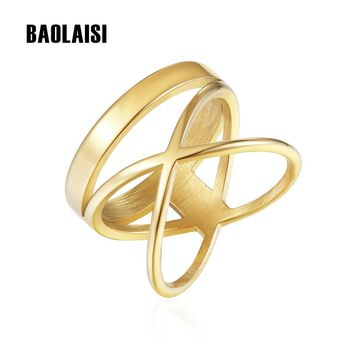 BAOLAISI Trendy Round Plus Cross Ring For Women Wedding Bands Rings Gold Color Fashion Jewelry Stainless Steel Party Rings