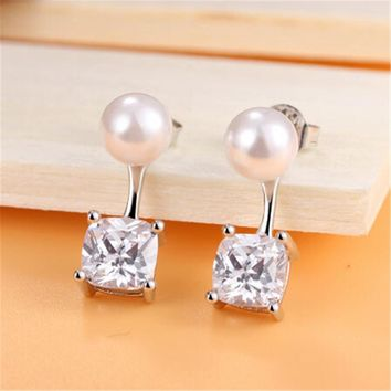 Womens Swarovski Crystals and Pearl Stud Earrings +Gift Box