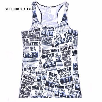 Newspaper Printed Women Sleeveless T-shirt Punk Rock Plus Size O-neck  Clothes European Style Tops Tee