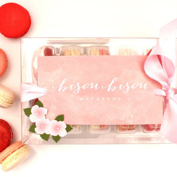 Edible Macarons-Gift Boxed--Best French Macaron--Pretty in Pink--Rose-Red Velvet-Strawberry-Vanilla-Raspberry Bisou Bisou