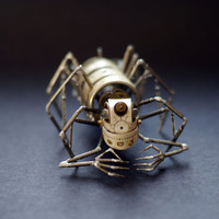 """Mechanical Arthropod """"Creeper"""" Recycled Watch Parts Spider Justin Gershenson-Gates Watch Faces Stems Gears Arthropod Clockwork Robot Insect"""