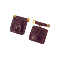 Vintage Alligator Leather Cufflinks