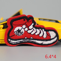 HOT sale 1Pc Red shoesusa kid happy Iron On Embroidered Patch For Cloth Cartoon Badge Garment Appliques DIY Accessory