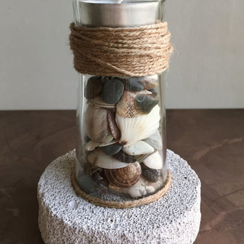 Seashells Decor/ Lighthouse Decor/ Pumice Stone Candle Holder/ Beach Decor/ Coastal Decor/ Ocean Decor/ Nautical Gift/ Natural Home Decor