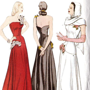 1940s Plus Size Evening Gown and Hooded Scarf Sewing Pattern 1940s Issue of Butterick 6408 Sizes 18, 20, 22 UNCUT