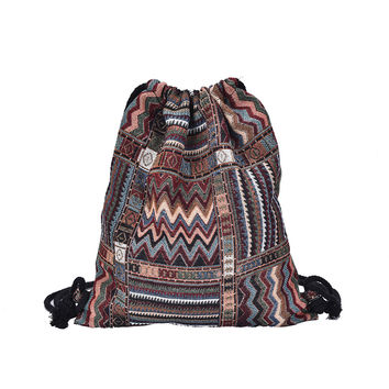 2017 Women Vintage Backpack Female Gypsy Bohemian Boho Chic Aztec Folk Tribal Ethnic Fabric Brown String Drawstring Backpack Bag