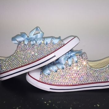 All Star Chuck Taylor Converse Bedazzled In AB Crystal Baby Blue Laces