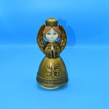 Japan Musical Revolving Christmas Angel Vintage Gold Praying Angel Music Box Christmas Decoration Holiday Angel Gift for Her