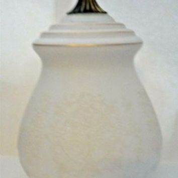 "White Frosted Embellished Glass Replacement Pendant Shade Brass 3.75"" Fitter"