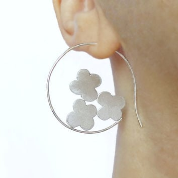 Big Hoop Earrings - Flowers Earrings - Sterling Silver