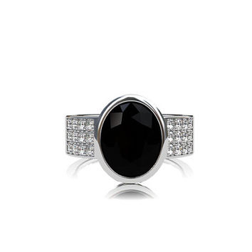 Oval cut back spinel engagement ring, diamond ring, wide, black engagement, gothic, bezel, solitaire, modern, unique, micro pave, white gold