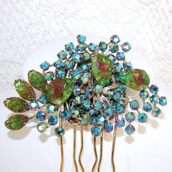 Rhinestone Hair Comb Sugar Stone Givre Art Glass Green Topaz Emerald Aurora Borealis Wedding Hairpiece Formal Vintage Jewelry
