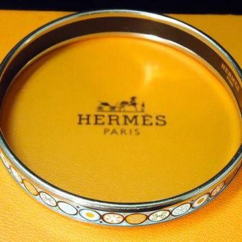 VONE05 Vintage Designer Hermes Enamel Bangle Bracelet With Box Tagre-