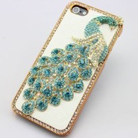 bling 3D peacock diamond crystal back Case cover for Iphone 5S 5 (light blue)