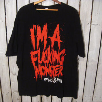 Of Mice And Men T-Shirt, Size XL. I'm a F*@king Monster! Upcycled Clothing, Reconstruction Available