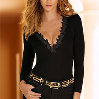 Black V-Neck Long Sleeve Lace Collar One Piece Suit
