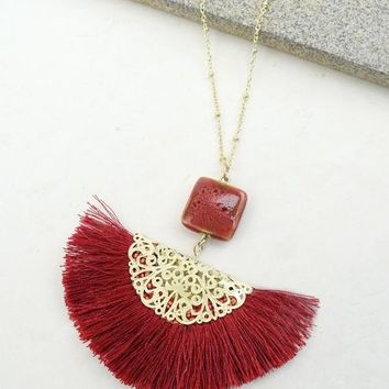 Fringe Necklace - Red