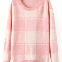 Pink Plaid Loose Sweater