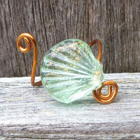 Green Glass Clam Shell Ring Copper Made to Order by Wave of Life