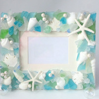 Beach Decor Seashell & Sea Glass Frame - Nautical Beach Glass Shell Frame  - 5x7 Pastel