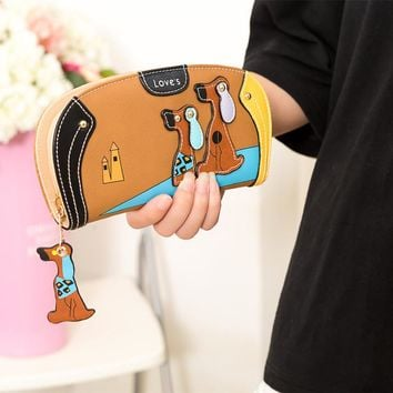Cute Dog Cartoon  Zipper Leather Wallet Womens Wallets and Purses Money Bag Clutch For Women Girls