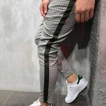 Checkered Ankle Pants with Side Stripes - Gray