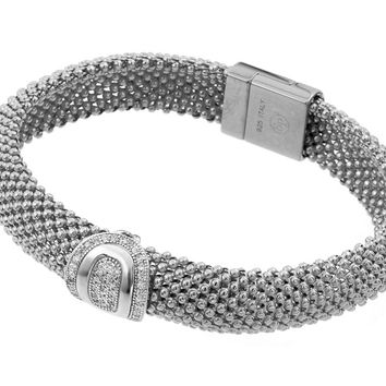.925 Sterling Silver Rhodium Plated Oval Micro Pave Clear Cubic Zirconia Beaded Italian Bracelet: SOD