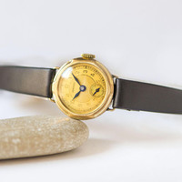 Antique Certina wristwatch for women gold plated, lady's cocktail watch gift, minimalist timepiece for women small new premium leather strap