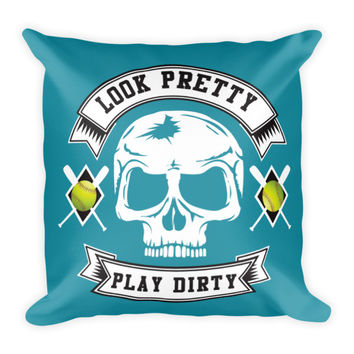 "Softball Pillow 18"" Square - Look Pretty Play Dirty Teal"