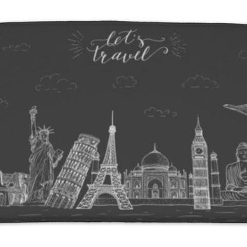 Bath Mat, World Travel And Sights Tourism Banner With Handlettering Quote