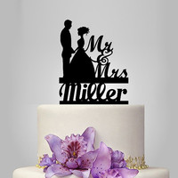 personalize wedding cake topper, monogram cake topper, Mr and Mrs cake topper, custom lastname, funny cake topper