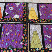 Fat Cats Quilted Placemats Set of 4, Whimisical Cat Quilted Place Mats, Modern Quilted Placemats Cats, Great for Mother's Day Gift