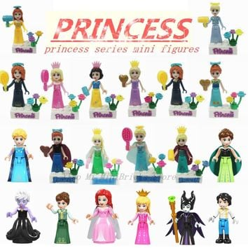 Cool Legoing Princess Figures Blocks Anna Elsa Ariel Aurora Snow White Ice Queen Building Bricks Toys Gift Legoings Friends for GirlsAT_93_12