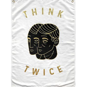 Think Twice Flag Tapestry