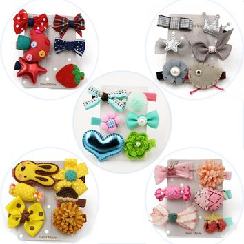 6pcs/set 2017 Lovely Cute Princess Hair Clips for Girls Kid Children Ribbon Bow Rabbit Crown Hair Clip Hairpins Hair Accessories