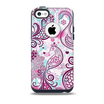 The White and Pink Birds with Floral Pattern Skin for the iPhone 5c OtterBox Commuter Case
