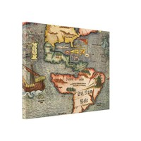 Munster's Old Worldly Map of America Canvas Print
