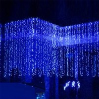 Ecandy 3M x 3M 300 LED Linkable Design Fairy String Curtains Light Ideal for Indoor Outdoor Home Garden Christmas Party Wedding,Blue