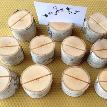 50 Natural Birch Wood Place Card Holders, Rustic Birch Wood Place Card Holders, Natural Birch Wood Circle Place Card Holders Set of 50