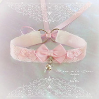 Kitten Pet Play Cat Collar Costume Choker Necklace Baby Pink White Lace O Ring Bell Bow Kitty Cute pastel goth Lolita Neko BDSM DDLG