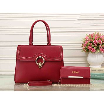 Chloe Fashionable Personality Leather Crossbody Shoulder Bag Satchel Handbag Two Piece Red I-XS-PJ-BB