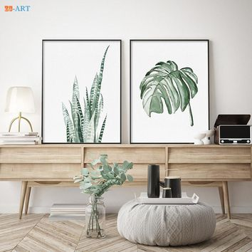 Monstera Deliciosa Canvas Prints Green Tropical Leaves Leaf Drawing Botanical Minimalist Plant Wall Art Office Decor Green