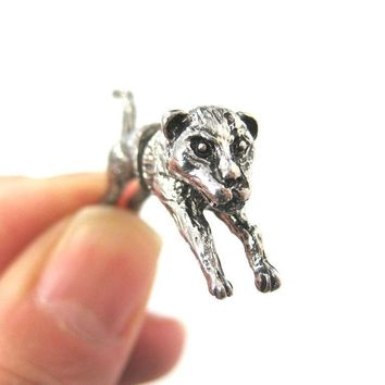 Fox Wolf Wolves 3D Fake Gauge Plug Earrings in Silver