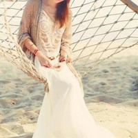 Naked White-Beige Lace, Sleeveless Maxi Dress