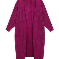 Solid Color Knitted Open Cardigan